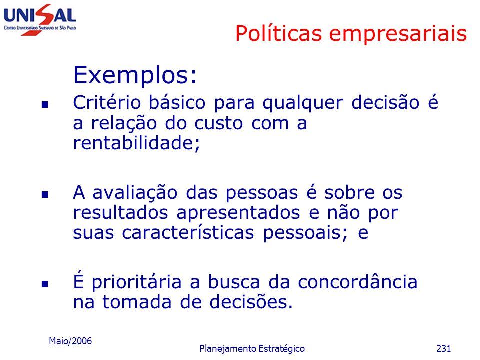 Maio/2006 Planejamento Estratégico230 Políticas empresariais Políticas gerais de direção: que representam: os princípios e critérios essenciais do pro