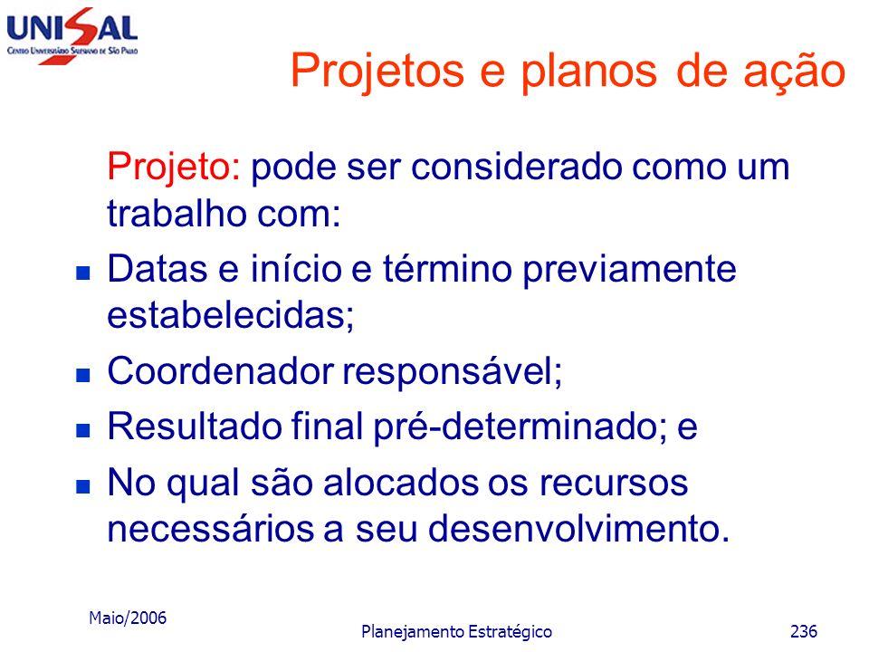 Maio/2006 Planejamento Estratégico235 Projetos e planos de ação Depois do estabelecimento dos objetivos, desafios, estratégias e políticas, o último p