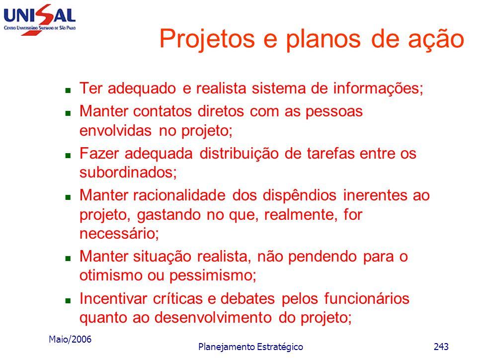 Maio/2006 Planejamento Estratégico242 Projetos e planos de ação Algumas recomendações para o gerente do projeto O gerente de projeto deve estar ciente