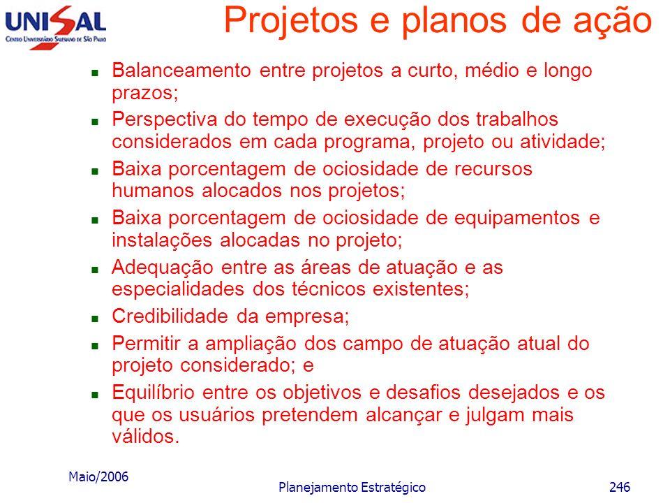 Maio/2006 Planejamento Estratégico245 Projetos e planos de ação Características da carteira de projetos Ao final do plano prescritivo, o executivo ter