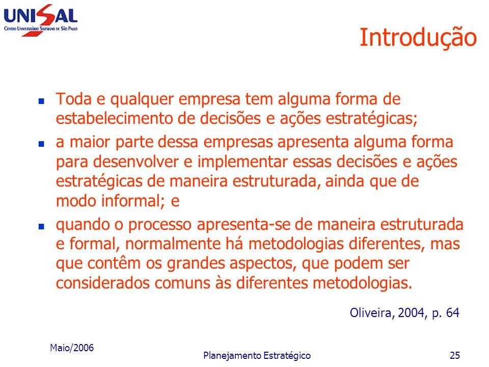 Maio/2006 Planejamento Estratégico24 Uma metodologia de elaboração e implementação do Planejamento Estratégico nas empresas