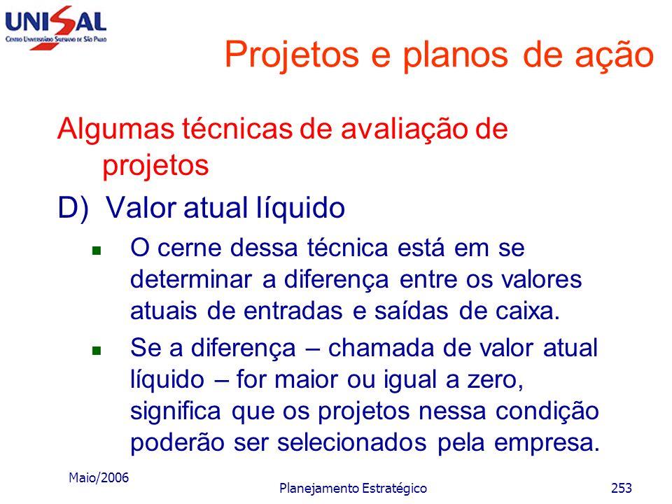 Maio/2006 Planejamento Estratégico252 Projetos e planos de ação Algumas técnicas de avaliação de projetos D) Valor atual líquido Esse método consiste