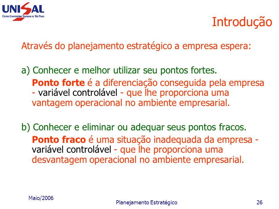 Maio/2006 Planejamento Estratégico25 Introdução Toda e qualquer empresa tem alguma forma de estabelecimento de decisões e ações estratégicas; a maior