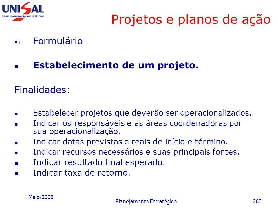 Maio/2006 Planejamento Estratégico259 Políticas Interligação do instrumento prescritivo com o instrumento quantitativo Situação atual quantificada Sit