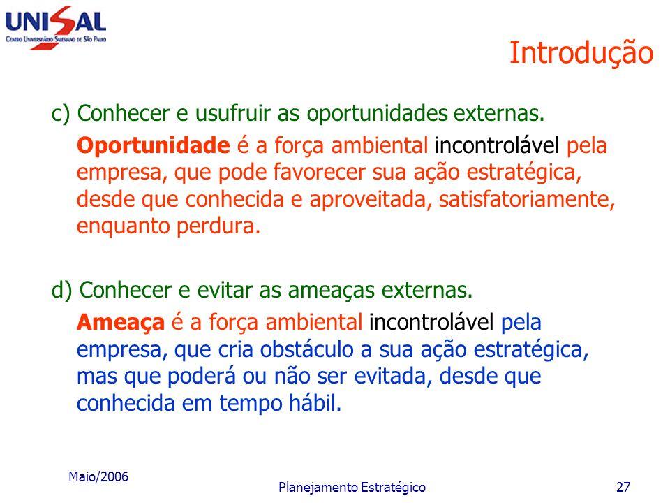 Maio/2006 Planejamento Estratégico26 Introdução Através do planejamento estratégico a empresa espera: a) Conhecer e melhor utilizar seu pontos fortes.