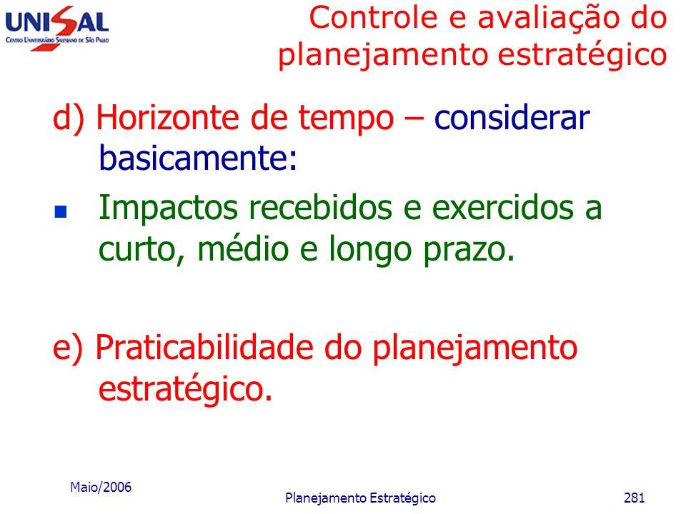 Maio/2006 Planejamento Estratégico280 Controle e avaliação do planejamento estratégico c) Riscos envolvidos – analisar os seguintes aspectos: Os risco
