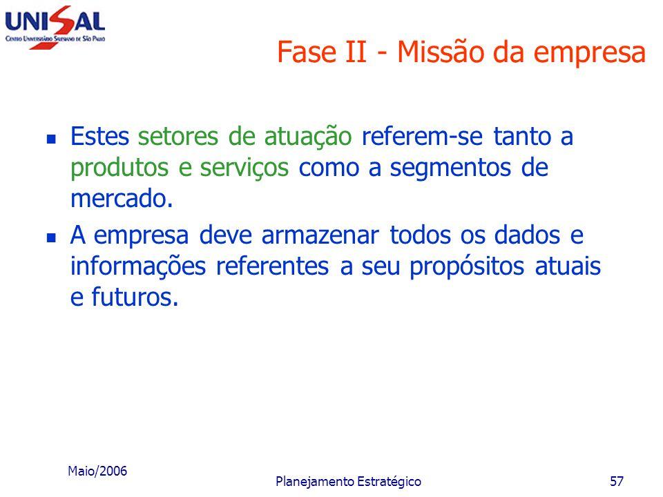 Maio/2006 Planejamento Estratégico56 Fase II - Missão da empresa B - Estabelecimento dos propósitos atuais e potenciais Dentro da missão, o executivo