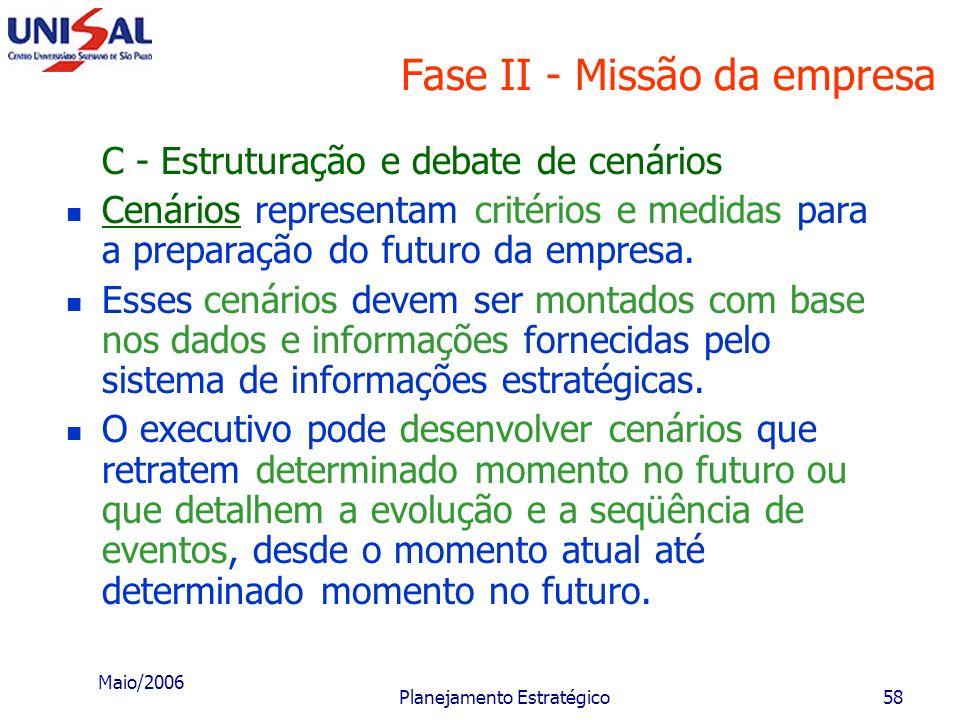 Maio/2006 Planejamento Estratégico57 Fase II - Missão da empresa Estes setores de atuação referem-se tanto a produtos e serviços como a segmentos de m