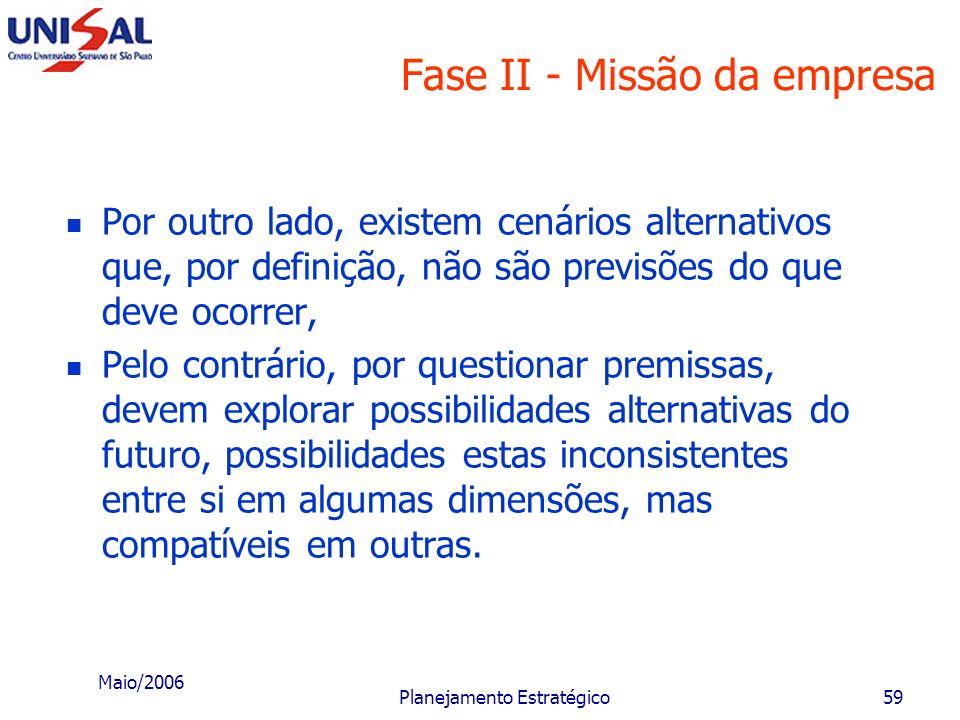 Maio/2006 Planejamento Estratégico58 Fase II - Missão da empresa C - Estruturação e debate de cenários Cenários representam critérios e medidas para a