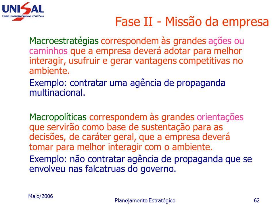 Maio/2006 Planejamento Estratégico61 Fase II - Missão da empresa D - Estabelecimento da postura estratégica A postura estratégica corresponde à maneir