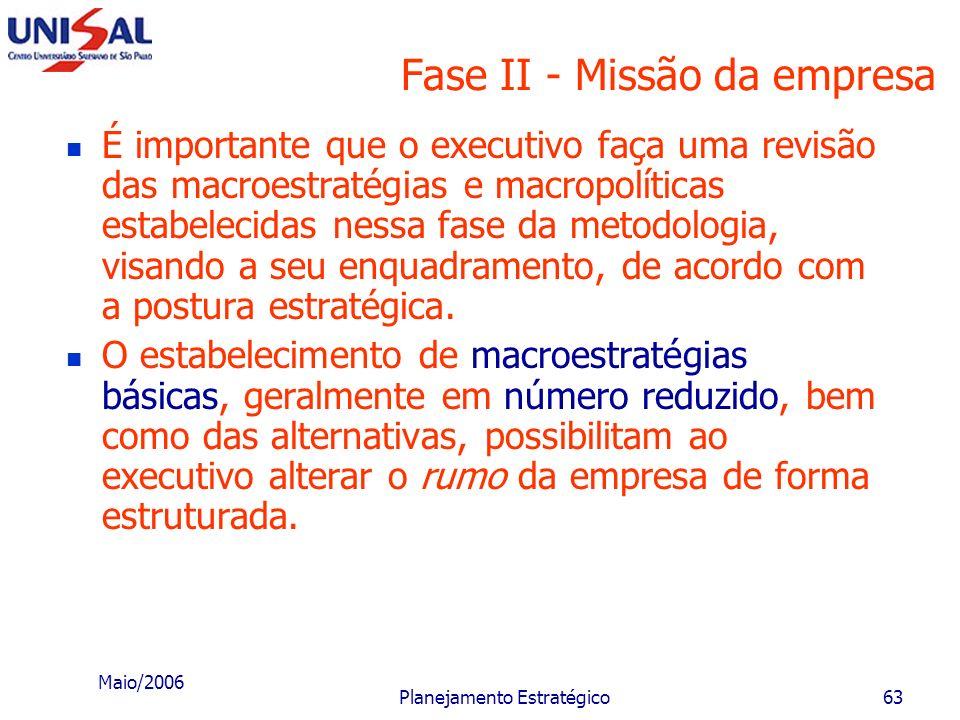 Maio/2006 Planejamento Estratégico62 Fase II - Missão da empresa Macroestratégias correspondem às grandes ações ou caminhos que a empresa deverá adota