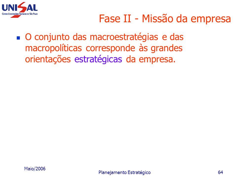 Maio/2006 Planejamento Estratégico63 Fase II - Missão da empresa É importante que o executivo faça uma revisão das macroestratégias e macropolíticas e