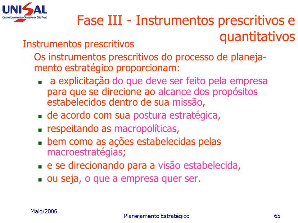 Maio/2006 Planejamento Estratégico64 Fase II - Missão da empresa O conjunto das macroestratégias e das macropolíticas corresponde às grandes orientaçõ