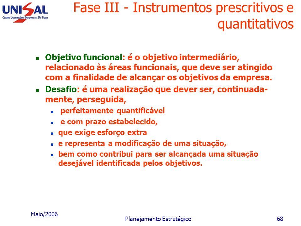 Maio/2006 Planejamento Estratégico67 Fase III - Instrumentos prescritivos e quantitativos O tratamento dos instrumentos prescritivos podem ser realiza