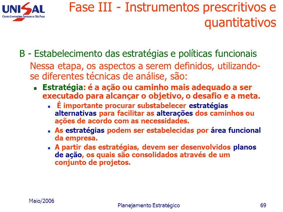 Maio/2006 Planejamento Estratégico68 Fase III - Instrumentos prescritivos e quantitativos Objetivo funcional: é o objetivo intermediário, relacionado