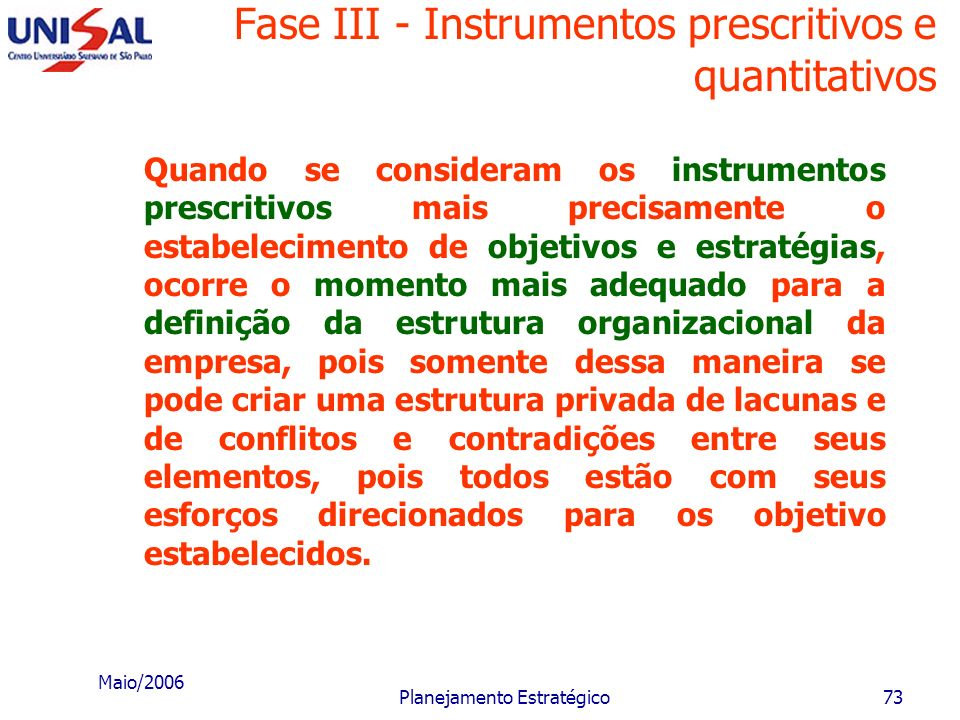 Maio/2006 Planejamento Estratégico72 Fase III - Instrumentos prescritivos e quantitativos Programas: são conjuntos de projetos homogêneos quanto ao se