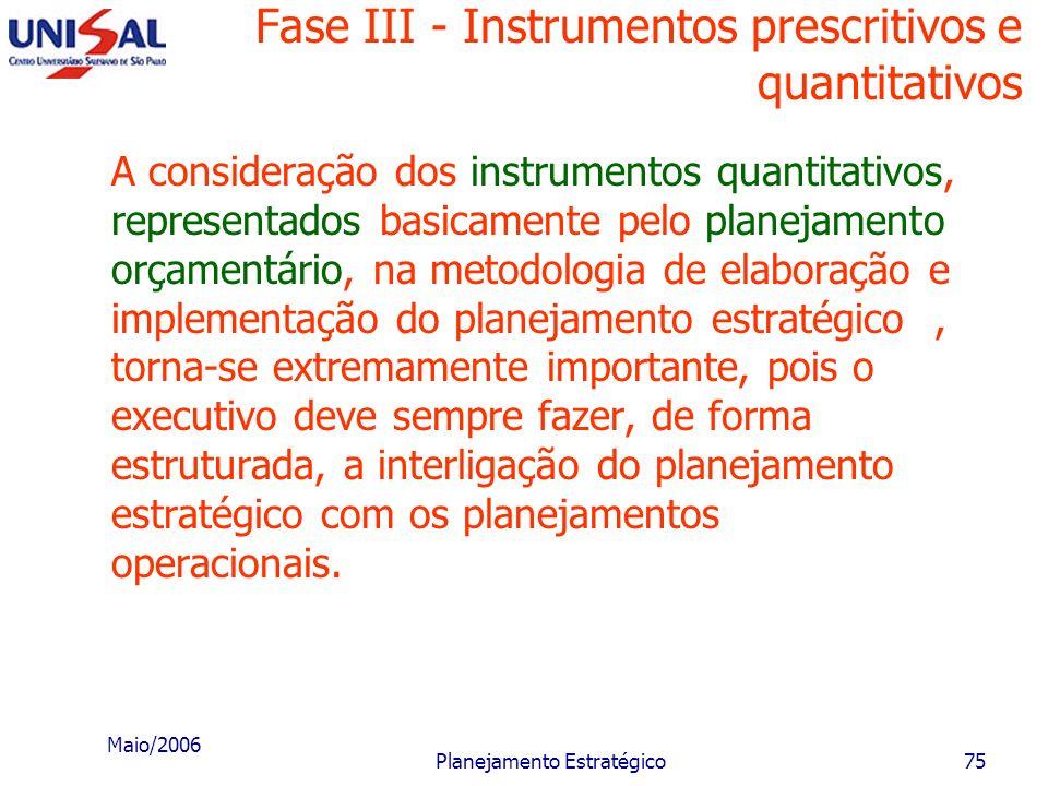 Maio/2006 Planejamento Estratégico74 Fase III - Instrumentos prescritivos e quantitativos Intrumentos quantitativos Consistem nas projeções econômico-