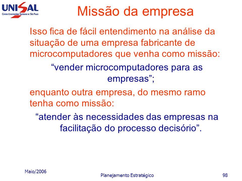 Maio/2006 Planejamento Estratégico97 Missão da empresa Quando a alta administração de uma empresa responde a essas perguntas, provoca a seguinte situa