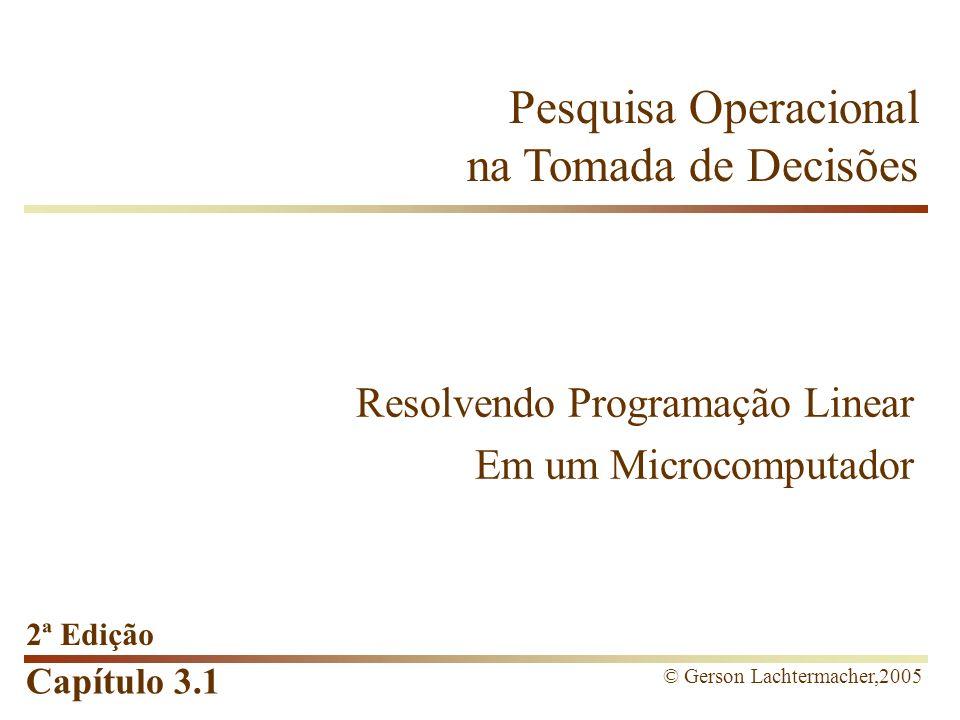 Capítulo 3.1 Pesquisa Operacional na Tomada de Decisões 2ª Edição © Gerson Lachtermacher,2005 Resolvendo Programação Linear Em um Microcomputador