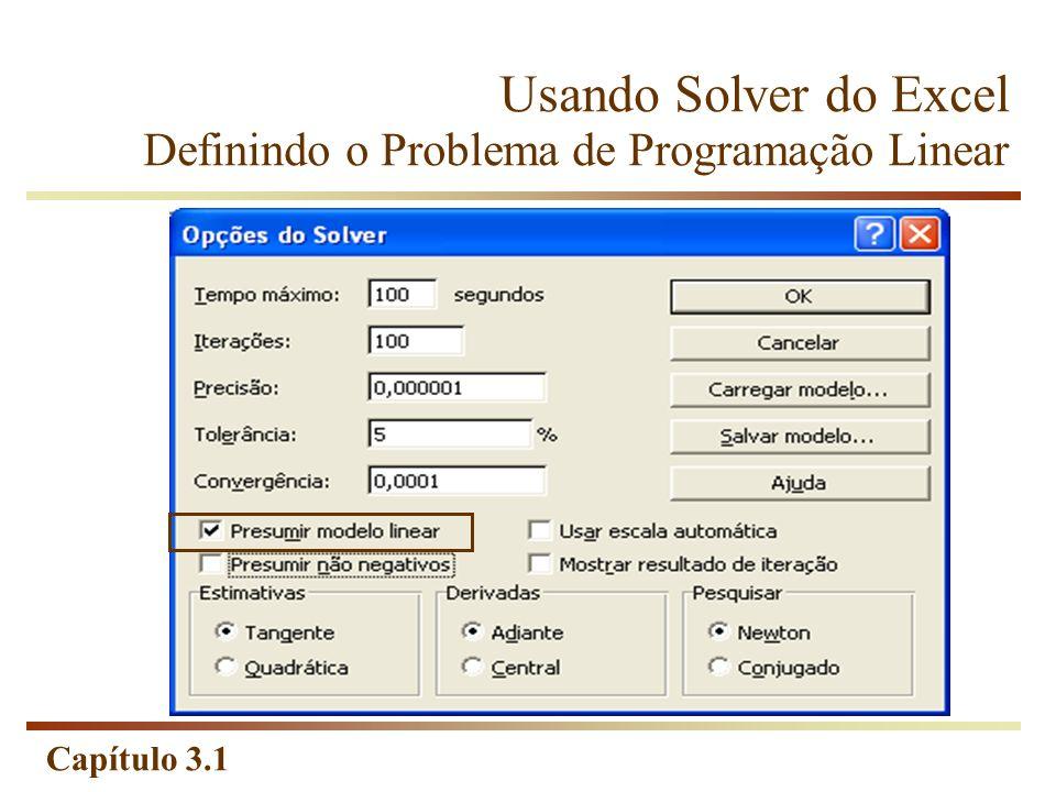 Capítulo 3.1 Usando Solver do Excel Definindo o Problema de Programação Linear