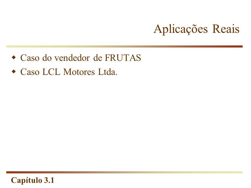 Capítulo 3.1 Aplicações Reais Caso do vendedor de FRUTAS Caso LCL Motores Ltda.
