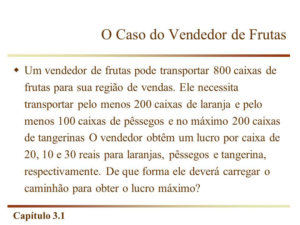 Capítulo 3.1 O Caso do Vendedor de Frutas Um vendedor de frutas pode transportar 800 caixas de frutas para sua região de vendas. Ele necessita transpo