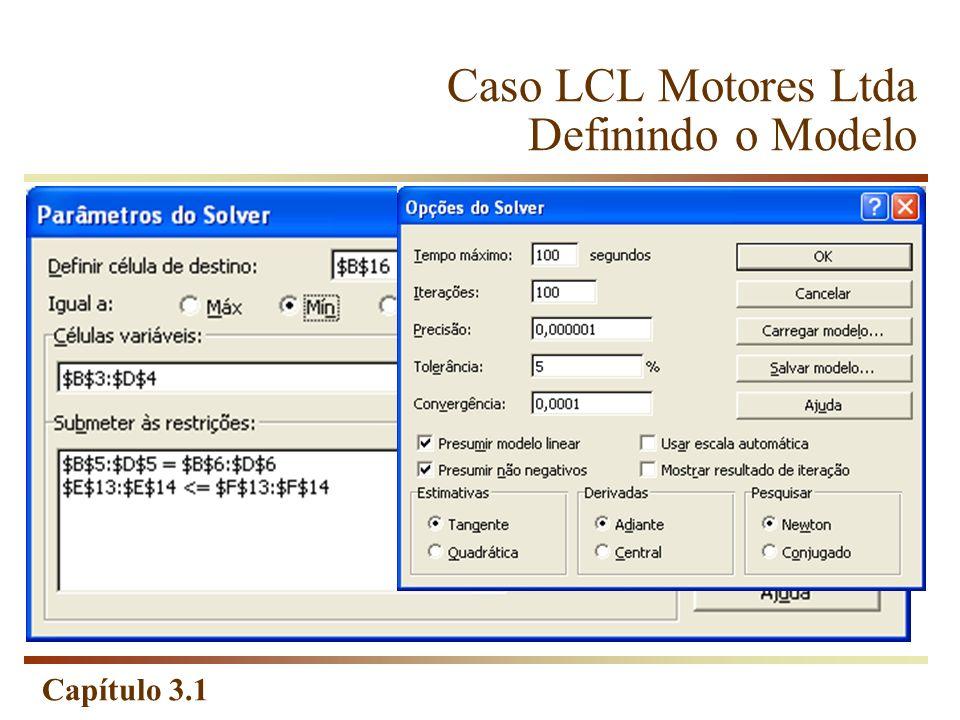 Capítulo 3.1 Caso LCL Motores Ltda Definindo o Modelo