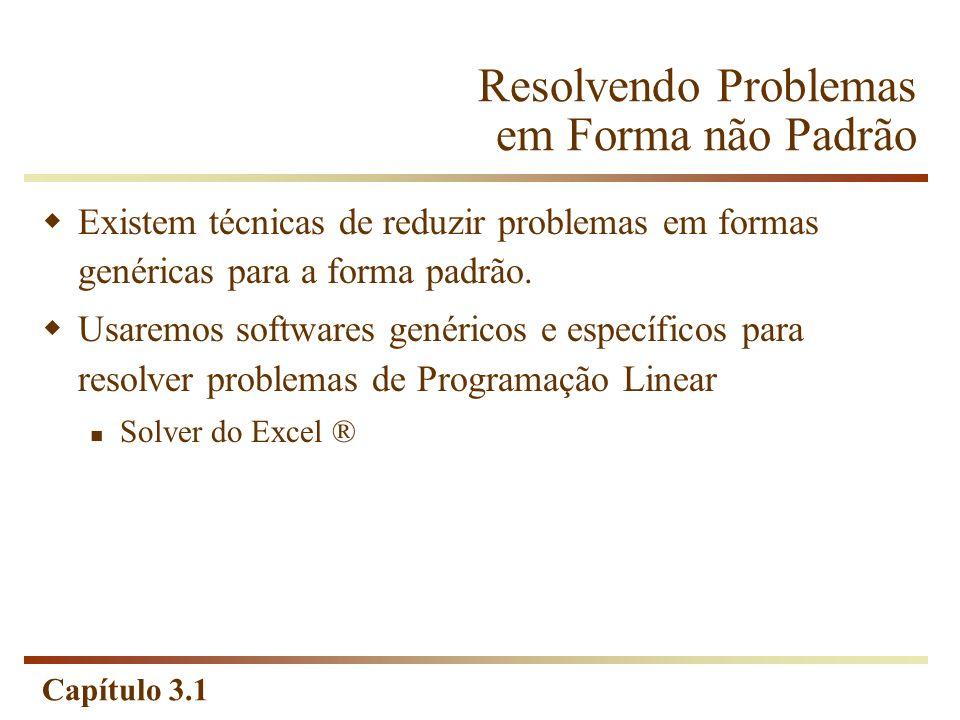 Capítulo 3.1 Resolvendo Problemas em Forma não Padrão Existem técnicas de reduzir problemas em formas genéricas para a forma padrão. Usaremos software