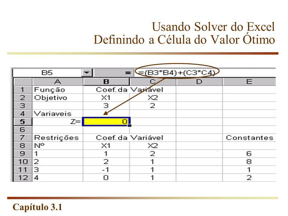 Capítulo 3.1 Usando Solver do Excel Definindo a Célula do Valor Ótimo