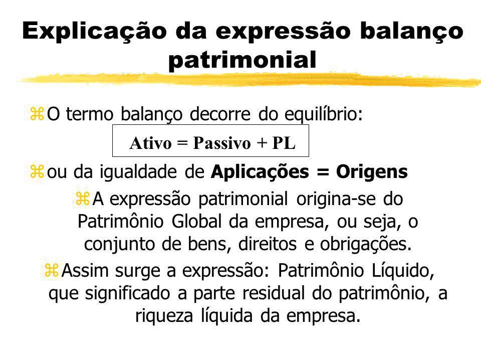 Explicação da expressão balanço patrimonial zO termo balanço decorre do equilíbrio: zou da igualdade de Aplicações = Origens zA expressão patrimonial