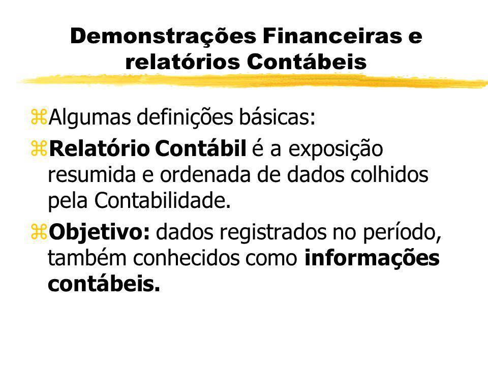Demonstrações Financeiras e relatórios Contábeis zAlgumas definições básicas: zRelatório Contábil é a exposição resumida e ordenada de dados colhidos