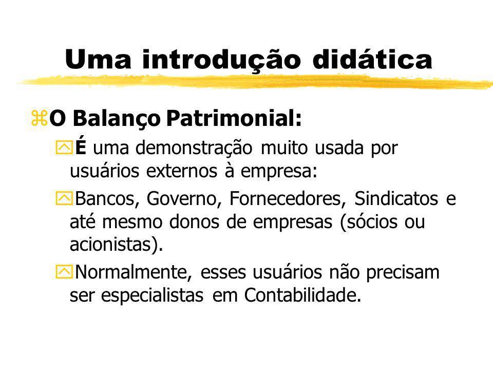 Uma introdução didática zO Balanço Patrimonial: yÉ uma demonstração muito usada por usuários externos à empresa: yBancos, Governo, Fornecedores, Sindi