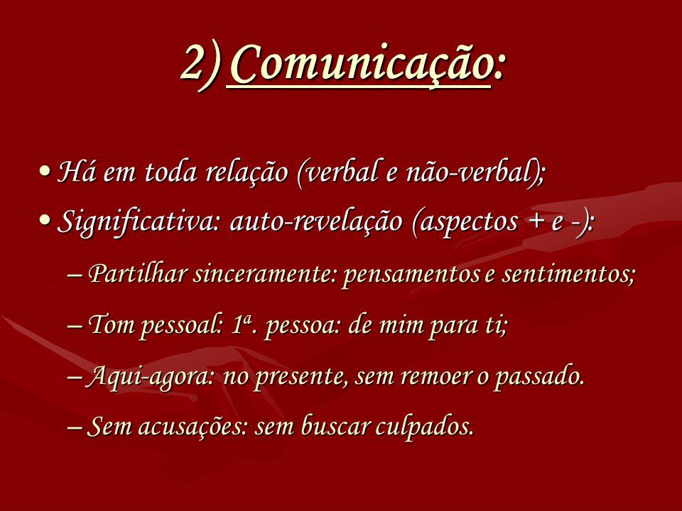 2) Comunicação: Há em toda relação (verbal e não-verbal);Há em toda relação (verbal e não-verbal); Significativa: auto-revelação (aspectos + e -):Sign