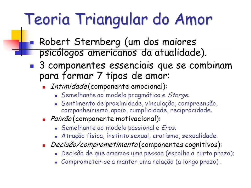 Teoria Triangular do Amor Robert Sternberg (um dos maiores psicólogos americanos da atualidade). 3 componentes essenciais que se combinam para formar