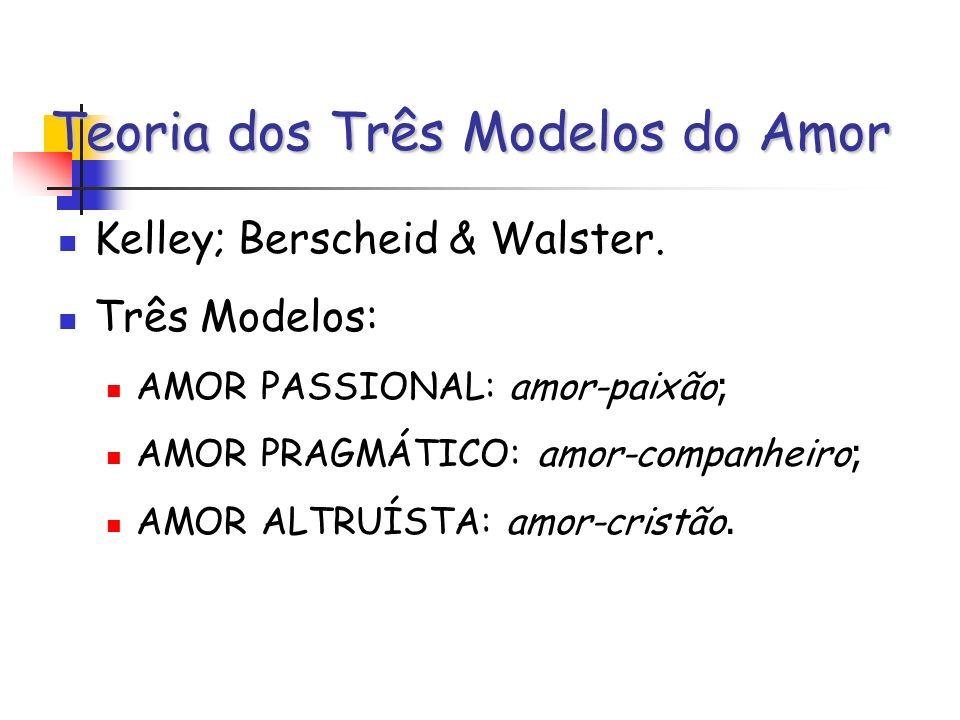 Teoria dos Três Modelos do Amor Kelley; Berscheid & Walster. Três Modelos: AMOR PASSIONAL: amor-paixão ; AMOR PRAGMÁTICO: amor-companheiro ; AMOR ALTR