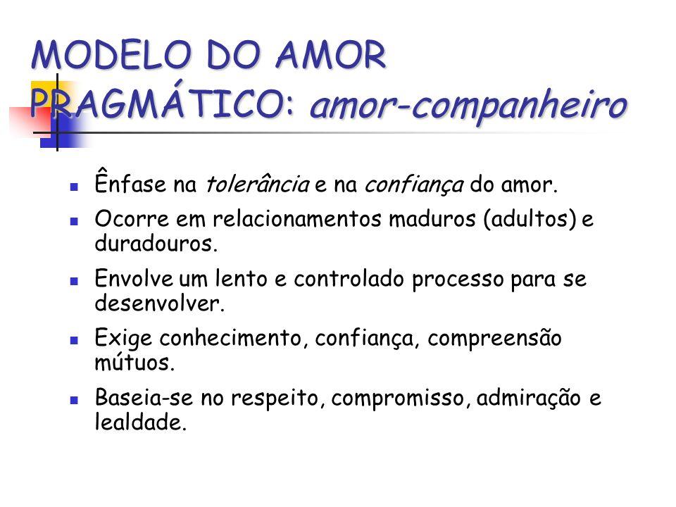 MODELO DO AMOR PRAGMÁTICO: amor-companheiro Ênfase na tolerância e na confiança do amor. Ocorre em relacionamentos maduros (adultos) e duradouros. Env