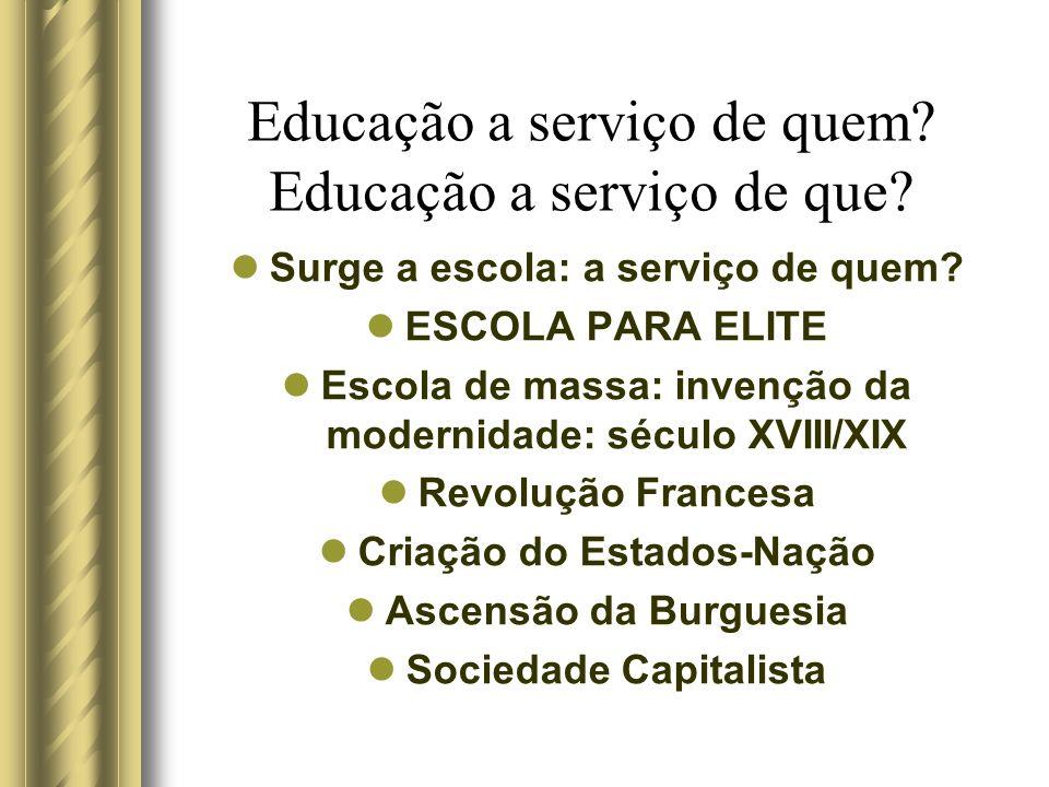 Educação a serviço de quem? Educação a serviço de que? Surge a escola: a serviço de quem? ESCOLA PARA ELITE Escola de massa: invenção da modernidade: