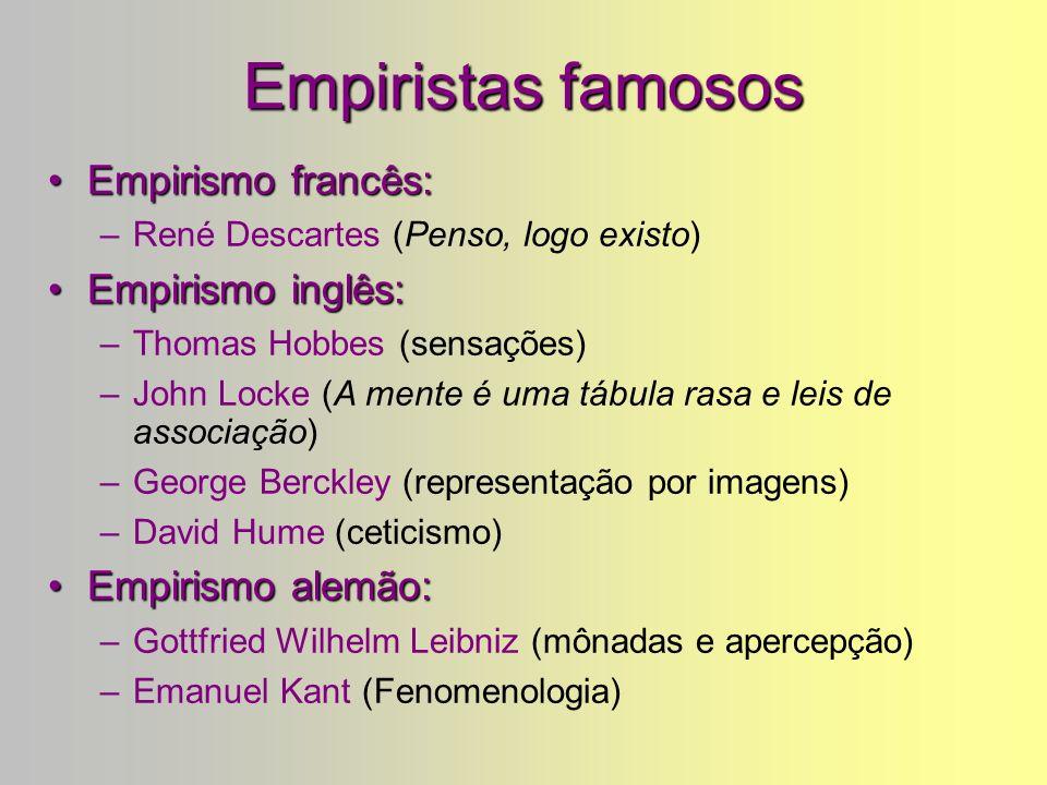 Empirismo: Exemplo de Fernando Pessoa Sou um guardador de rebanhos. O rebanho é os meus pensamentos E os meus pensamentos são todos sensações. Penso c