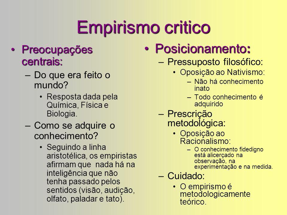 Empirismo critico Preocupações centrais:Preocupações centrais: –Do que era feito o mundo.