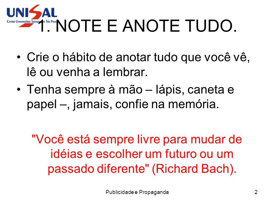 Publicidade e Propaganda3 2.AVALIE AS ANOTAÇÕES.