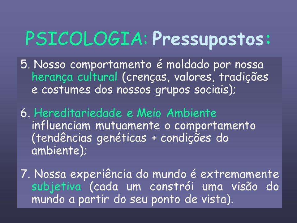 PSICOLOGIA: Pressupostos: 5. Nosso comportamento é moldado por nossa herança cultural (crenças, valores, tradições e costumes dos nossos grupos sociai