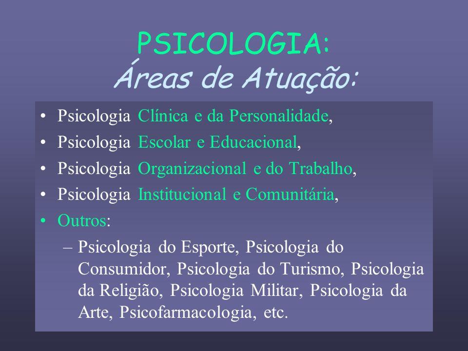 PSICOLOGIA: Áreas de Atuação: Psicologia Clínica e da Personalidade, Psicologia Escolar e Educacional, Psicologia Organizacional e do Trabalho, Psicol