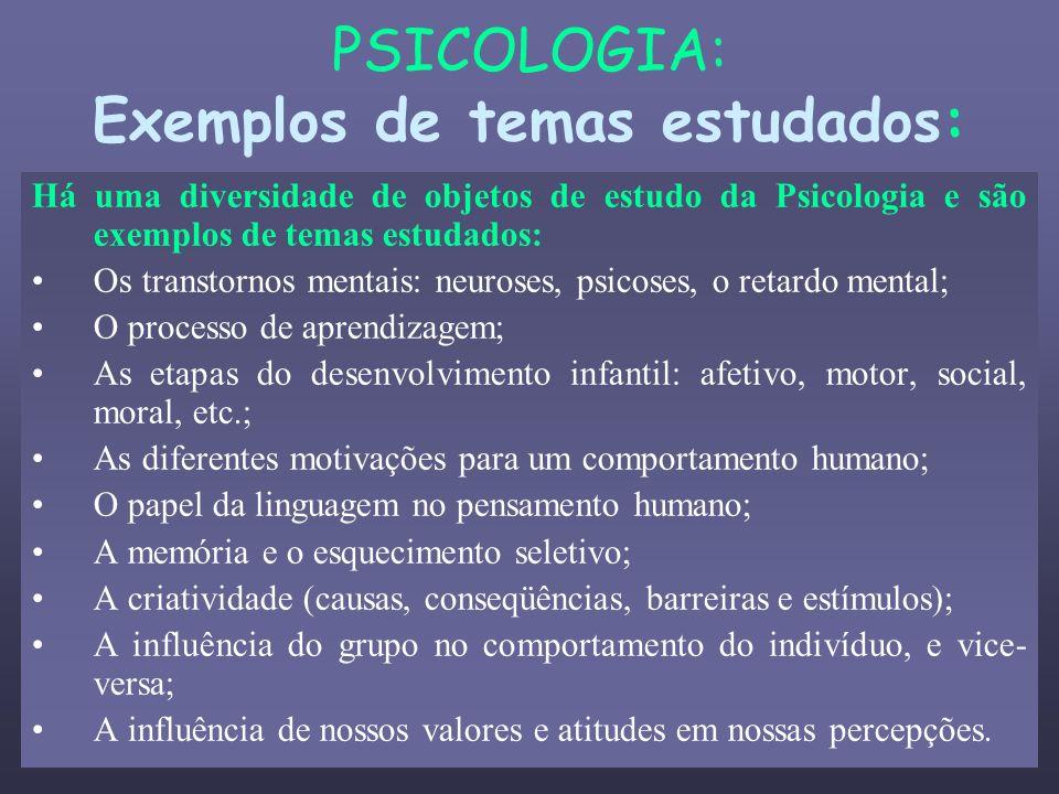 PSICOLOGIA: Exemplos de temas estudados: Há uma diversidade de objetos de estudo da Psicologia e são exemplos de temas estudados: Os transtornos menta