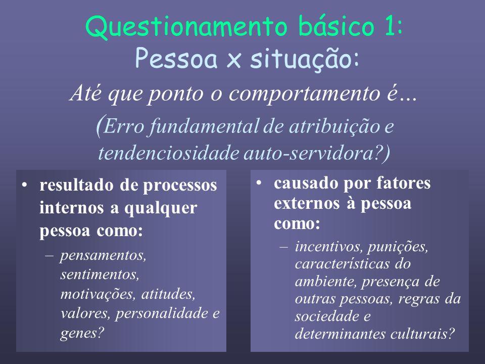 Questionamento básico 1: Pessoa x situação: Até que ponto o comportamento é… ( Erro fundamental de atribuição e tendenciosidade auto-servidora?) resul
