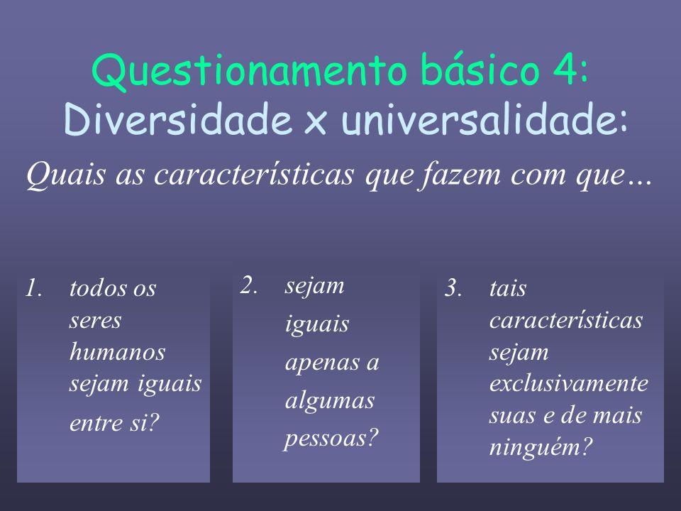 Questionamento básico 4: Diversidade x universalidade: Quais as características que fazem com que… 1.todos os seres humanos sejam iguais entre si? 3.t