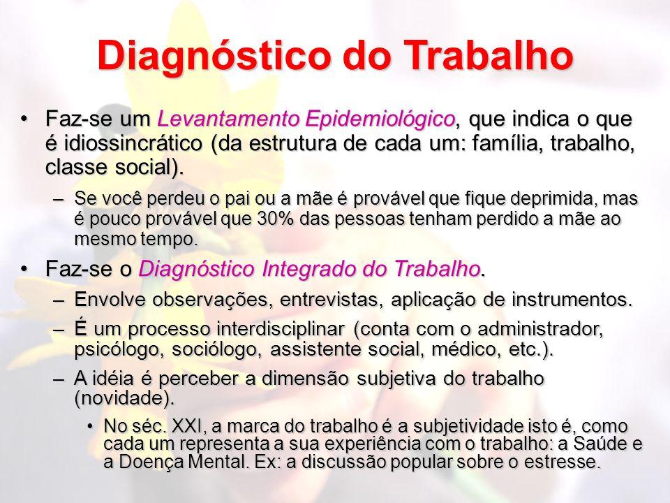 Diagnóstico do Trabalho Faz-se um Levantamento Epidemiológico, que indica o que é idiossincrático (da estrutura de cada um: família, trabalho, classe