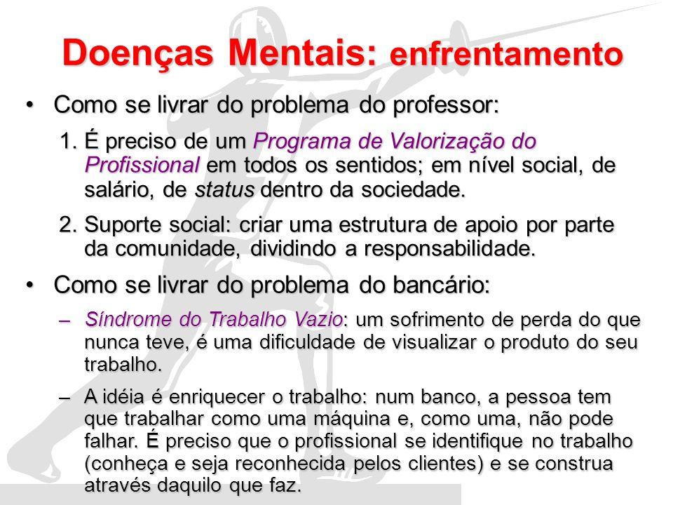 Doenças Mentais: enfrentamento Como se livrar do problema do professor:Como se livrar do problema do professor: 1.É preciso de um Programa de Valoriza