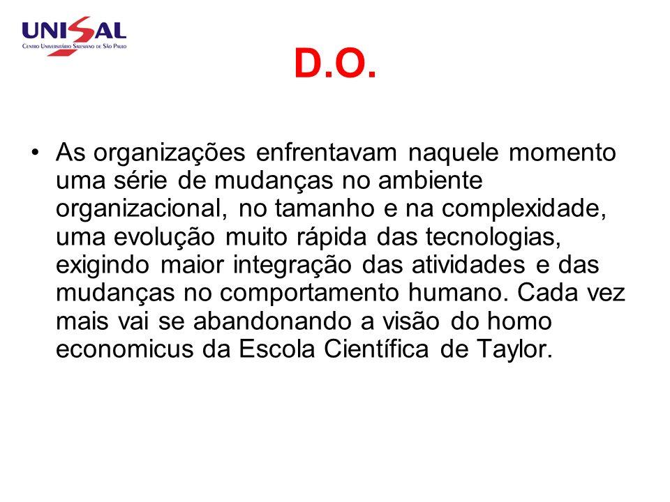 D.O x Homem O individuo na organização se mostra mais complexo e com maiores necessidades de conhecimento, e o modelo mecanicista e concentrador de poder dá lugar a um modelo humanístico baseado na colaboração e na razão.