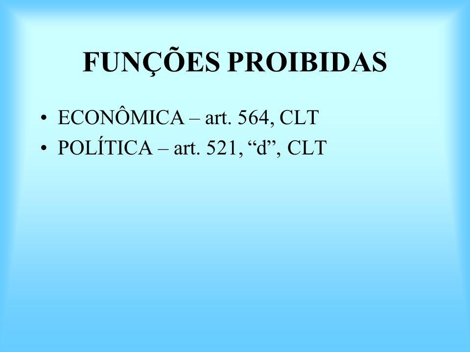 FUNÇÕES PROIBIDAS ECONÔMICA – art. 564, CLT POLÍTICA – art. 521, d, CLT