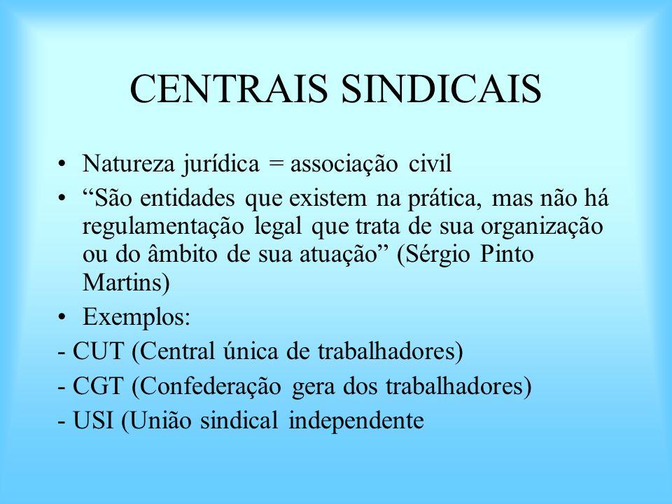 CENTRAIS SINDICAIS Natureza jurídica = associação civil São entidades que existem na prática, mas não há regulamentação legal que trata de sua organiz